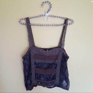 Free People purple lace crop top tank size small